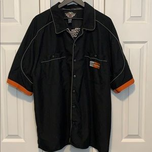Harley-Davidson racing black button down shirt